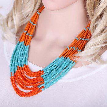 Layered Beads Necklace - BLUE