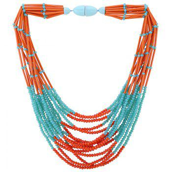 Layered Beads Necklace - BLUE BLUE