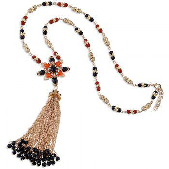 Chains Beads Tassel Pendant Necklace -  GOLDEN