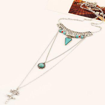 Crucifix Faux Turquoise Multilayered Sweater Chain -  SILVER