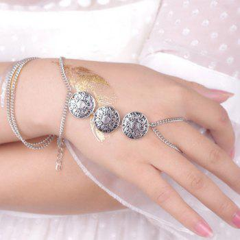 Multi-Layered Carved Design Coin Bracelet With Ring - SILVER