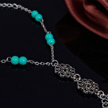 Vintage Beads Hollow Out Floral Anklet -  SILVER