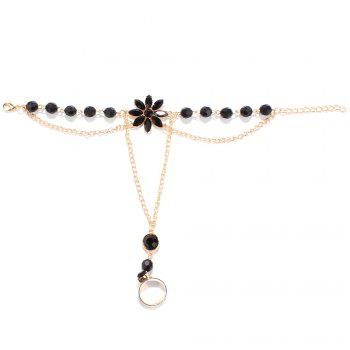 Fake Gemstone Floral Beaded Anklets - BLACK BLACK