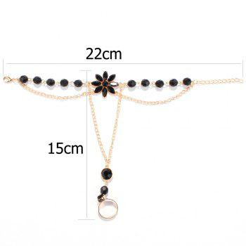 Fake Gemstone Floral Beaded Anklets -  BLACK