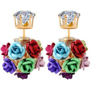 Pair of Rose Shape Rhinestone Earrings