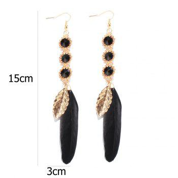 Leaf Feather Round Faux Gem Drop Earrings - BLACK
