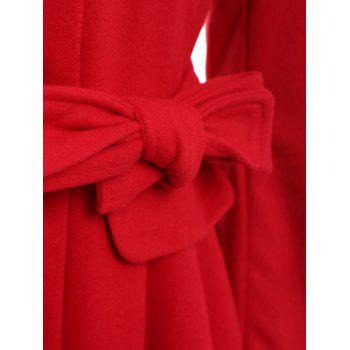 Stylish Turn-Down Neck Long Sleeve Spliced Lace-Up Button Design Women's Coat - RED M