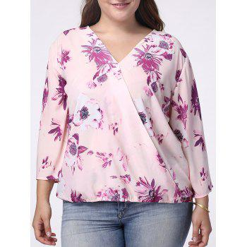 Sweet V-Neck 3/4 Sleeve Floral Print Wrapped Blouse For Women - LIGHT PURPLE 4XL