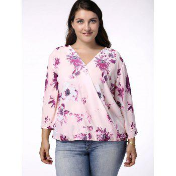 Sweet V-Neck 3/4 Sleeve Floral Print Wrapped Blouse For Women - LIGHT PURPLE 3XL