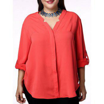 Elegant Solid Color V-Neck 3/4 Sleeve Plus Size Blouse For Women