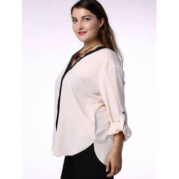 Elegant Hit Color V-Neck 3/4 Sleeve Plus Size Blouse For Women - 3XL 3XL