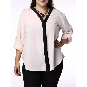 Elegant Hit Color V-Neck 3/4 Sleeve Plus Size Blouse For Women - APRICOT 3XL