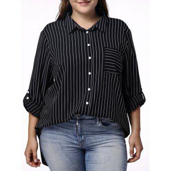 Casual Pinstriped 3/4 Sleeve Plus Size Shirt For Women