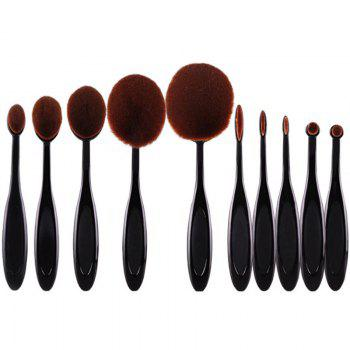 Cosmetic 10 Pcs Multifunction ToothBrush Shape Fiber Facial Eye Makeup Brushes Set - BLACK BLACK