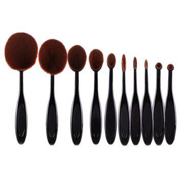 Cosmetic 10 Pcs Multifunction ToothBrush Shape Fiber Facial Eye Makeup Brushes Set - BLACK
