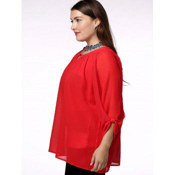 Fashionable Scoop Neck 3/4 Sleeve Pleated Red Blouse For Women - RED 2XL