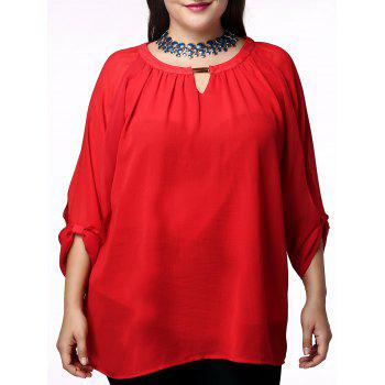 Fashionable Scoop Neck 3/4 Sleeve Pleated Red Blouse For Women