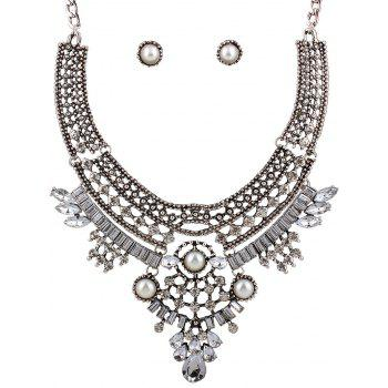 Teardrop Faux Pearl Crystal Necklace and Earrings - SILVER