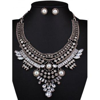 Teardrop Faux Pearl Crystal Necklace and Earrings