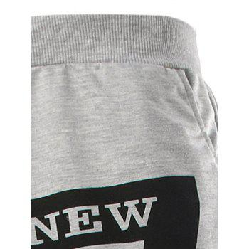 Stylish Lace-Up Slimming Letter Number Print Beam Feet Polyester Sweatpants For Men - BLACK M