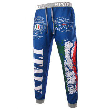 Trendy Lace-Up Loose Fit Italy National Emblem Print Beam Feet Polyester Sweatpants For Men