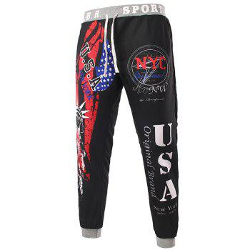 Beam Feet American Flag Statue of Liberty Letters Print Hit Color Lace-Up Men's Loose Fit Sweatpants - BLACK M