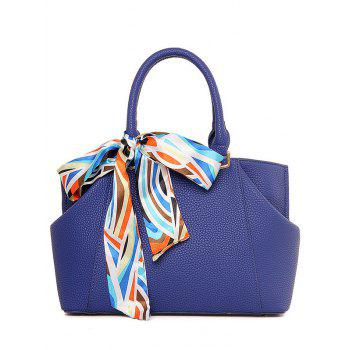 Elegant Scarf and PU Leather Design Tote Bag For Women