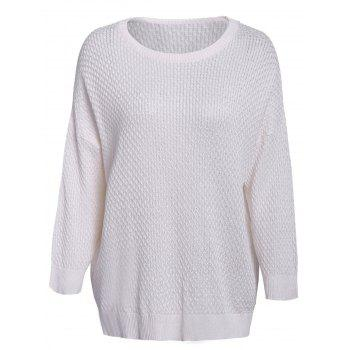 Simple Style 3/4 Sleeve Scoop Collar Solid Color Cable-Knit Women's Sweater
