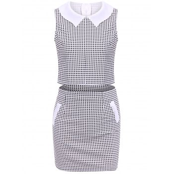 Women'sTrendy Peter Pan Collar Checked Sleeveless Suit
