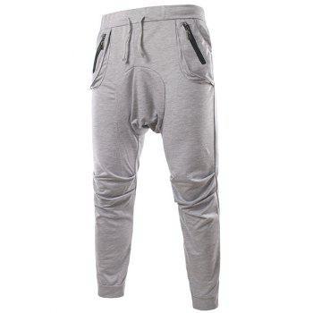 Modish Lace-Up Slimming Pocket Zipper Design Narrow Feet Polyester Low-Crotch Pants For Men - LIGHT GRAY 2XL