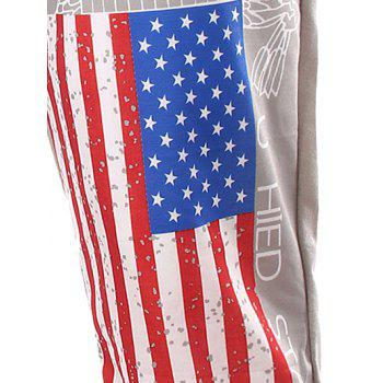 Star Beam Feet Lace-Up American Flag Sweatpants - LIGHT GRAY XL