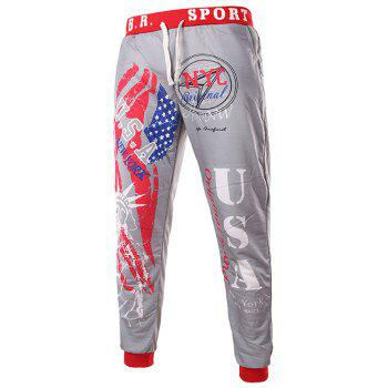Beam Feet American Flag Statue of Liberty Letters Print Hit Color Lace-Up Men's Loose Fit Sweatpants - LIGHT GRAY M
