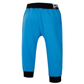 Lace-Up Color Block Spliced Flag and Letters Print Beam Feet Men's Jogger Shorts - BLUE XL