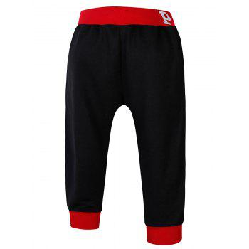 Lace-Up Color Block Spliced Flag and Letters Print Beam Feet Men's Jogger Shorts - RED/BLACK 2XL