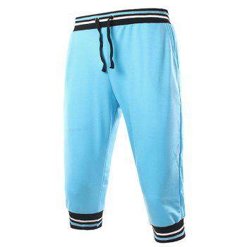 Stripe Rib Splicing Design Lace-Up Beam Feet Men's Cropped Pants - Pers XL