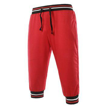 Stripe Rib Splicing Design Lace-Up Beam Feet Men's Cropped Pants - Rouge 2XL