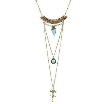 Crucifix Faux Turquoise Multilayered Sweater Chain - GOLDEN GOLDEN