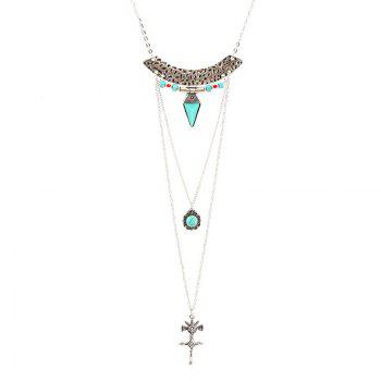 Crucifix Faux Turquoise Multilayered Sweater Chain - SILVER SILVER