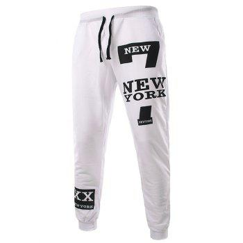Stylish Lace-Up Slimming Letter Number Print Beam Feet Polyester Sweatpants For Men - WHITE L