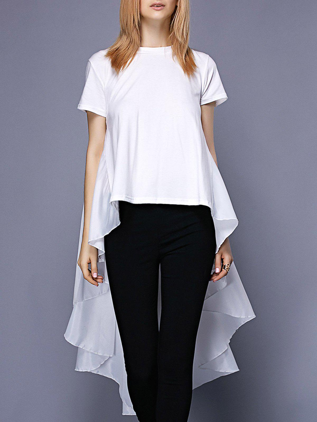 Round Neck Fashionable Asymmetric Flounce Short Sleeve Women's Tee - WHITE ONE SIZE(FIT SIZE XS TO M)