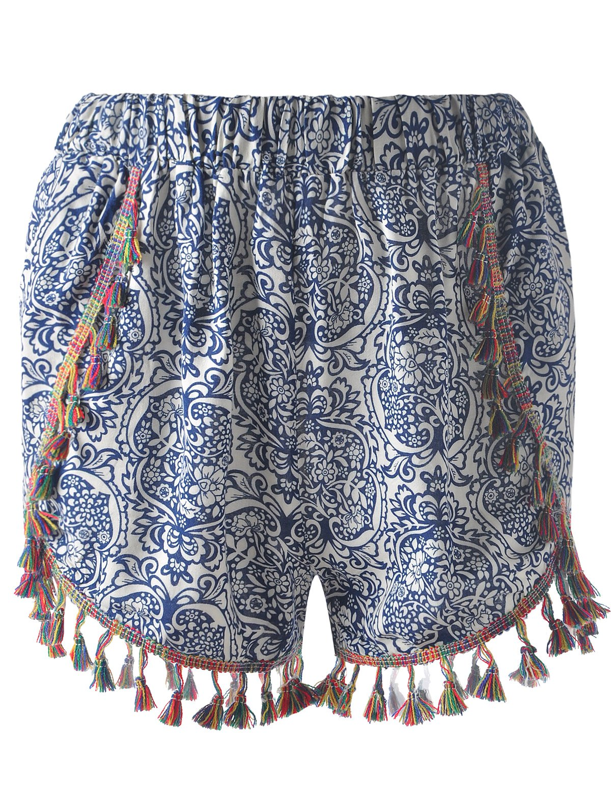 Casual Slimming Elastic waist Tassel Printing Ethnic Style Shorts For Women - PURPLISH BLUE ONE SIZE(FIT SIZE XS TO M)