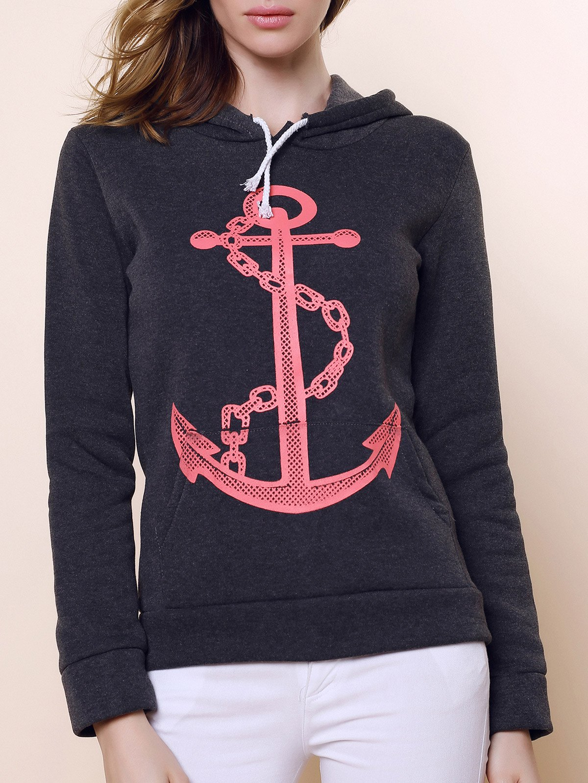 Casual Anchor Print Hooded Long Sleeve Hoodie For Women - BLACK GREY XL