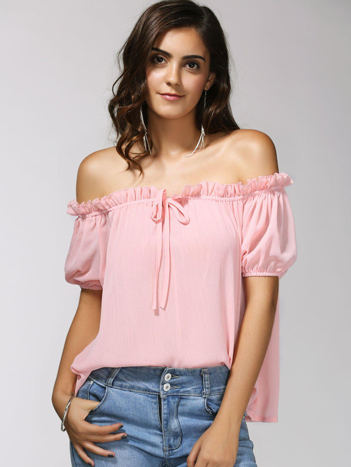 Off-The-Shoulder Puff Sleeve Bowknot Charming Women's Blouse - LIGHT PINK M