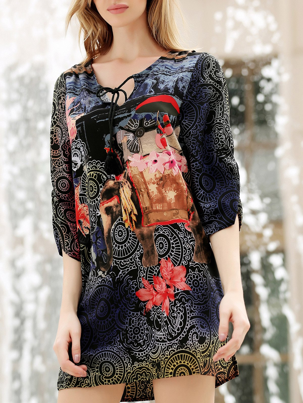 Lace-Up V-Neck Flower Ethnic Print 3/4 Sleeve Dress For Women - COLORMIX L