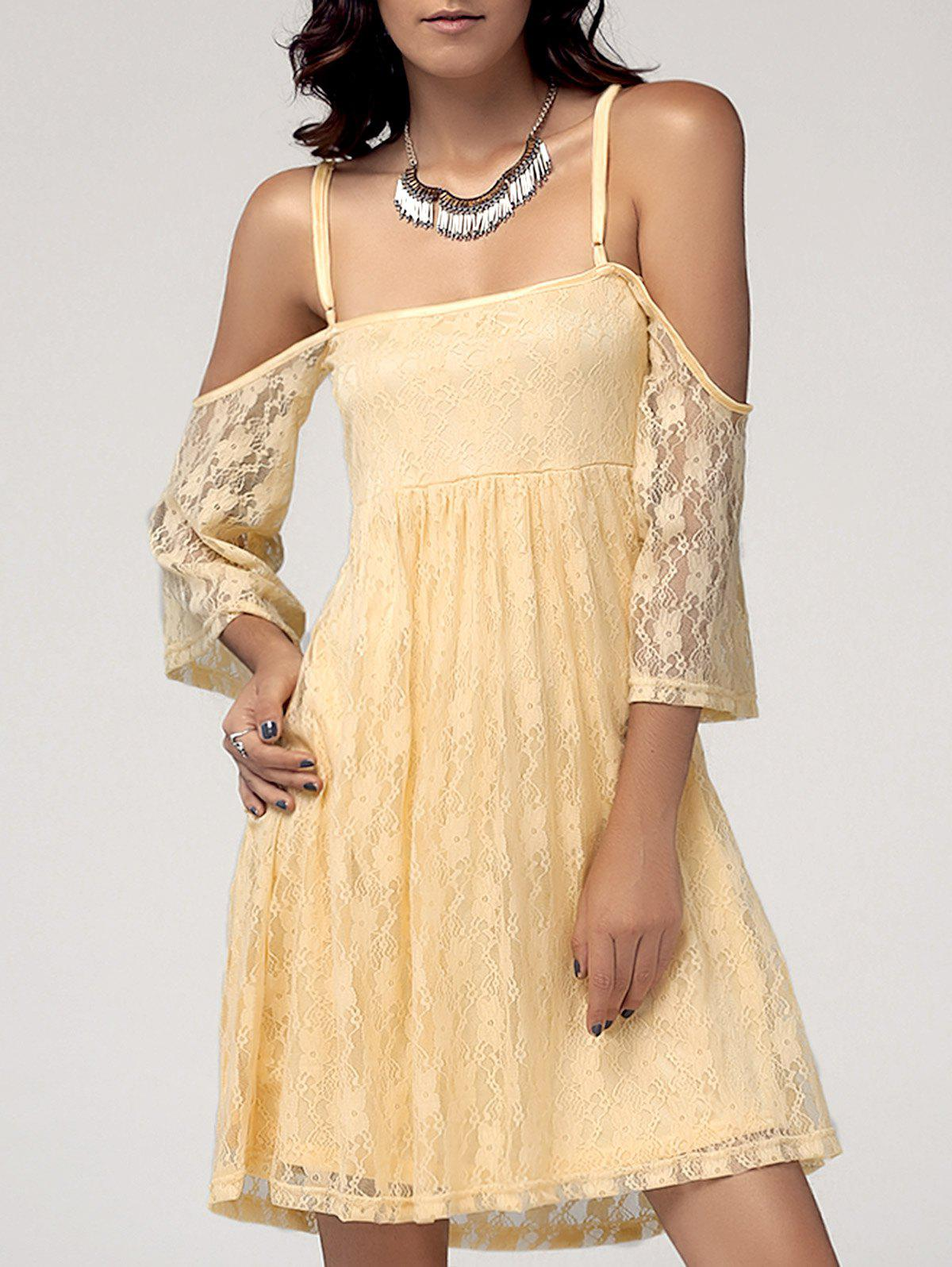 Sweet Women's Spaghetti Straps Cold Shoulder Lace Dress - M YELLOW
