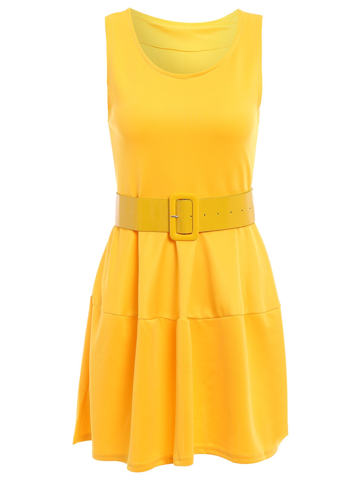 Women's Cute Narrow Waist Ruffles Candy Color Sleeveless Dress - YELLOW ONE SIZE