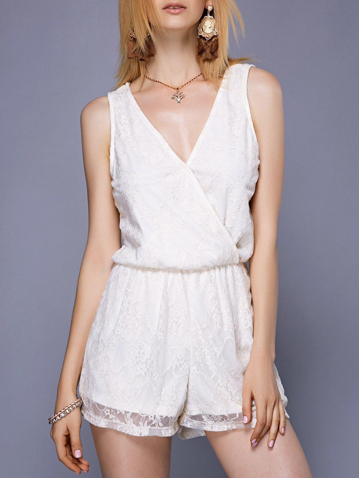 Femmes Élégant  's V-Neck See-Through Romper Lace - Blanc ONE SIZE(FIT SIZE XS TO M)
