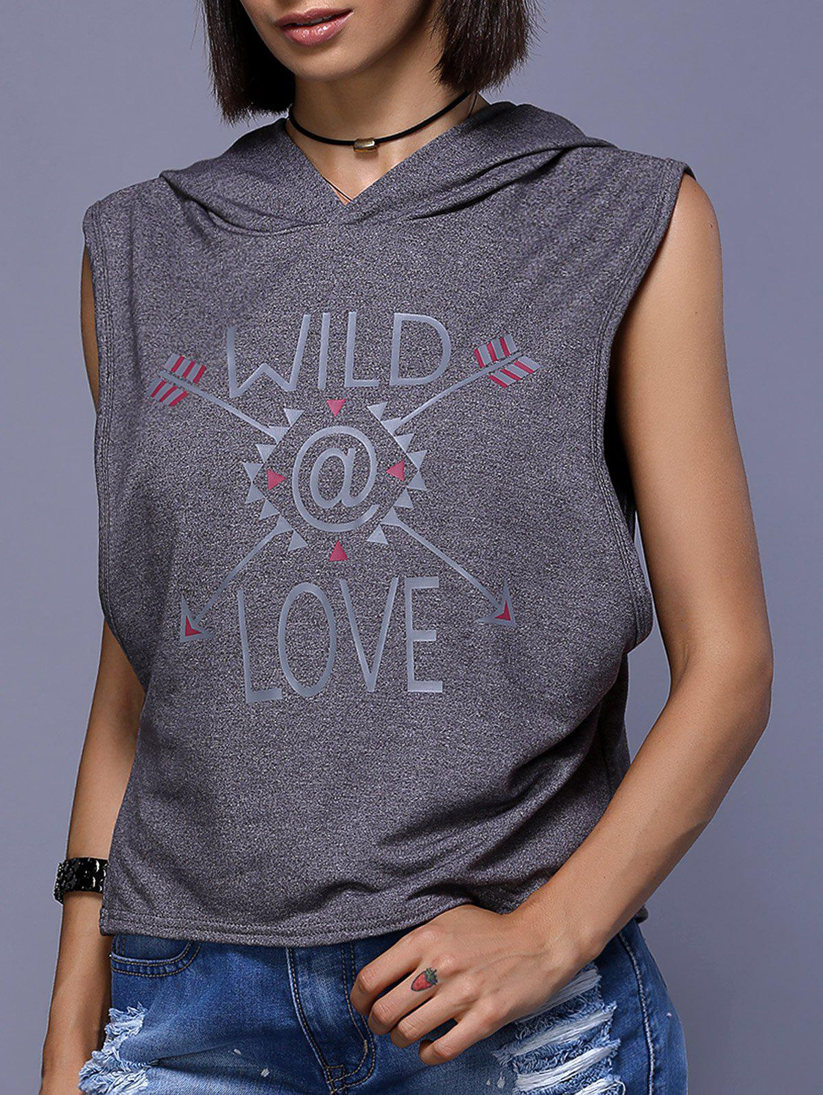 Stylish Hooded Print Sleeveless T-Shirt For Women - GRAY XL