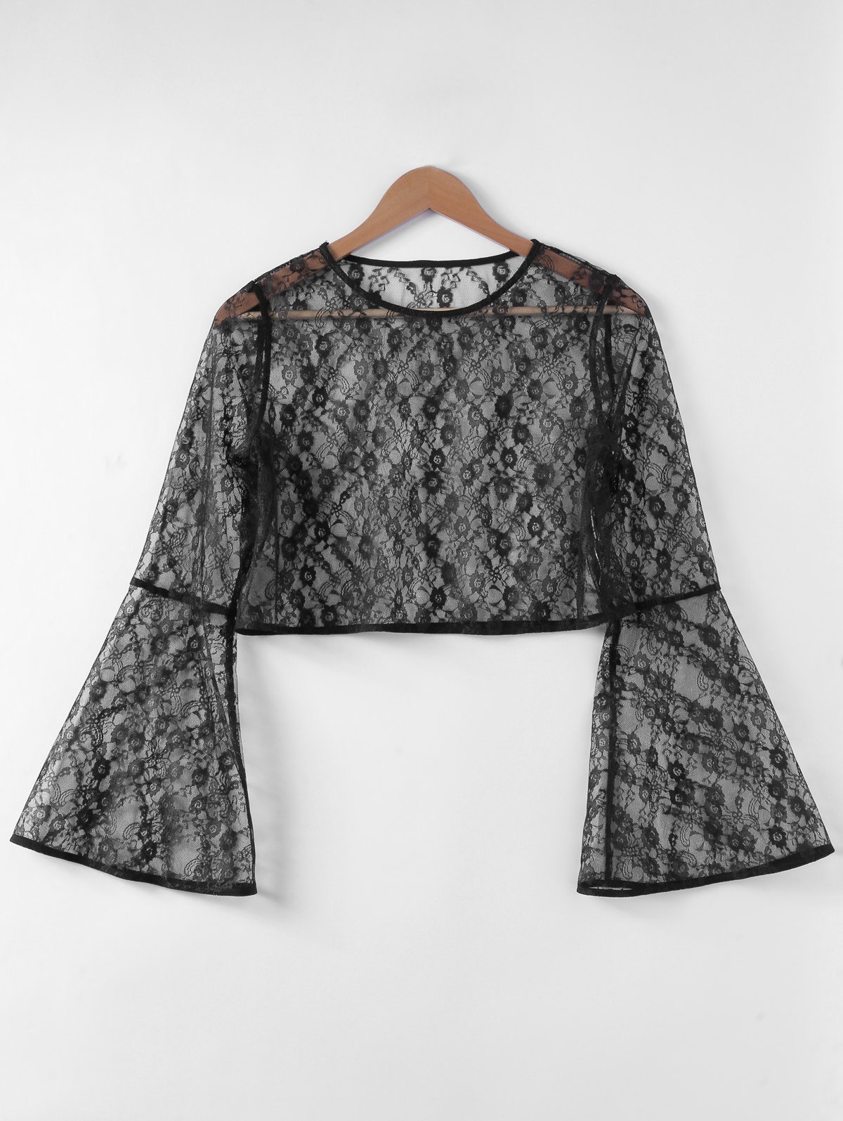 Stylish Trumpet Sleeve Hollow Out Top For Women