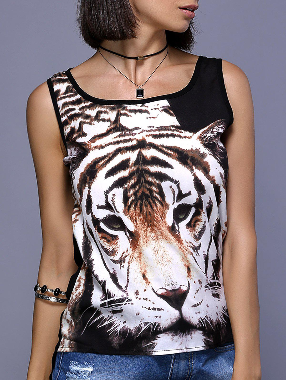 Stylish Tiger Print Chiffon Tank Top For Women - BLACK XL
